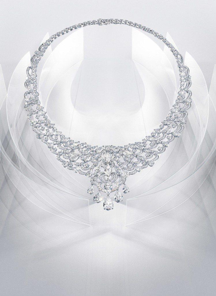 Harmonie(和諧)鑽石項鍊,鉑金鑲嵌 10 顆梨形鑽石共10.57克拉、2...