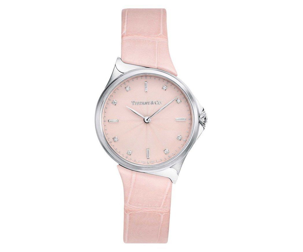 Tiffany Metro系列28毫米不鏽鋼腕表,搭配粉色鱷魚皮表帶、石英機芯,...