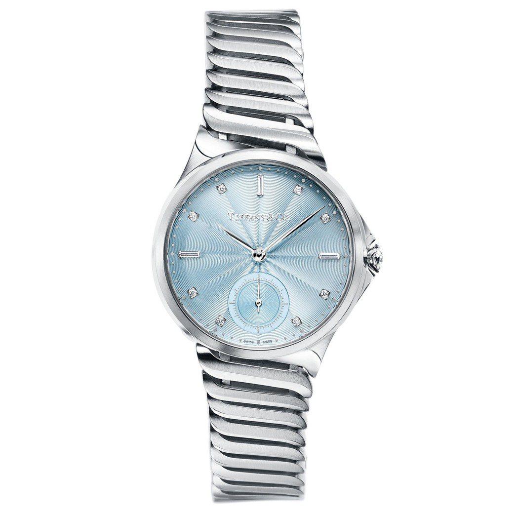 Tiffany Metro 系列34毫米不鏽鋼腕表,冰藍色表盤、自動上鍊機芯,2...