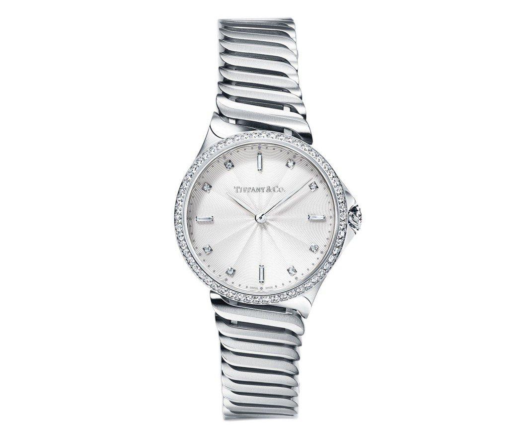 Tiffany Metro系列28毫米不鏽鋼鑲鑽鍊帶腕表,石英機芯,25萬5,0...