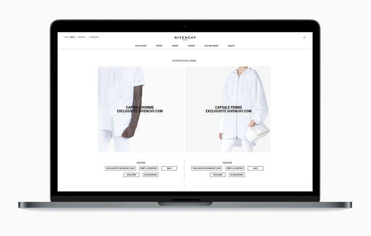 GIVENCHY全新官網的設計相當清爽簡約。圖/GIVENCHY提供