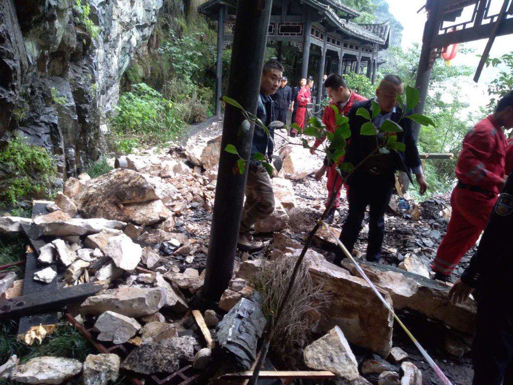土石流事發現場。圖/宜昌市政府提供
