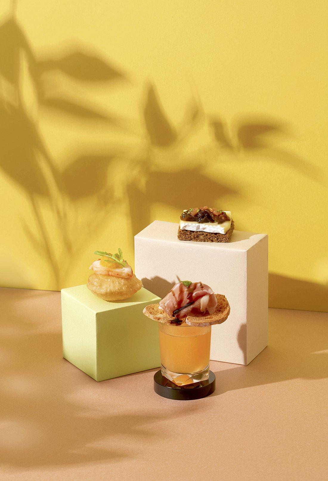 北緯25甜謐午后下午茶,開胃鹹點由副主廚李昱寬設計。圖/台北寒舍艾美酒店提供