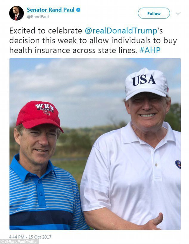 美國總統川普極力拉攏為廢除歐記健保不遺餘力的保羅參議員,14日請他到新澤西州打高...