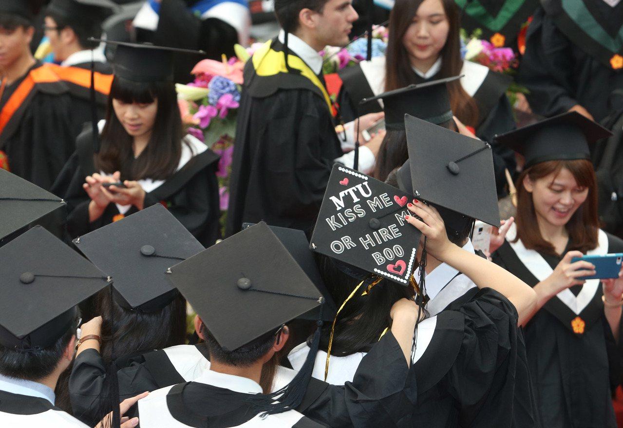 圖為台灣大學畢業典禮。本報資料照/記者林俊良攝影