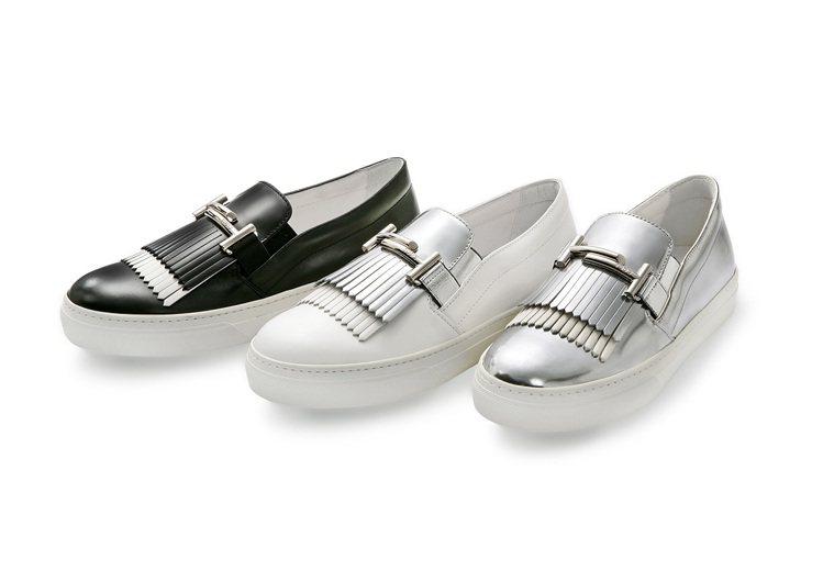 TOD'S Double T流蘇飾片休閒鞋,以經典飾釦作點綴。 圖/TOD'S ...