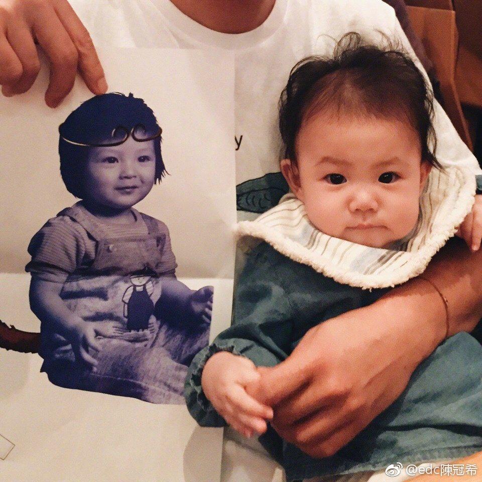 陳冠希自從當了爸爸之後,還經常曬出女兒ALAIA 的照片。 圖/擷自微博...