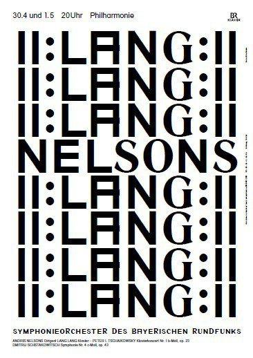 ▲尼爾森指揮巴伐利亞廣播交響樂團演出,由於同場鋼琴家郎朗的英文名為Lang La...