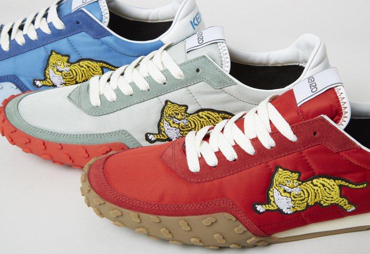 KENZO MOVE系列運動鞋,橡膠大底一體成形,鞋尖、鞋底的斑紋顆粒與刻紋俏皮...