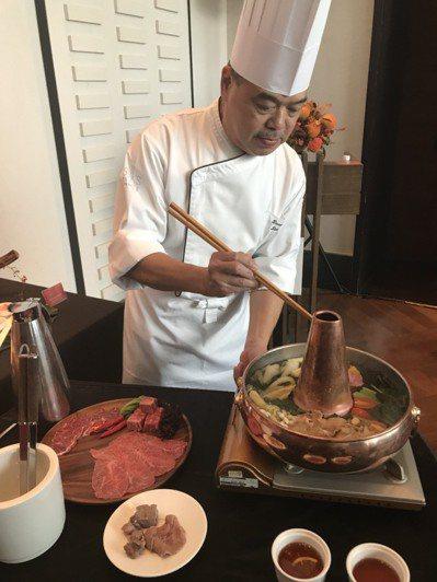 台南晶英酒店首度引進熊本和牛,還推出火鍋料理。 記者綦守鈺/攝影