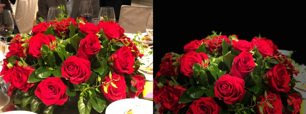 左為自然拍攝,右為舞台燈光效果應用效果。