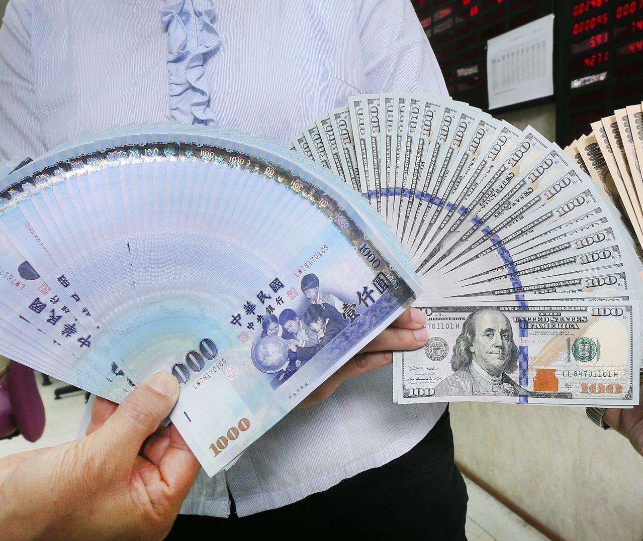 新台幣今天午盤以30.224元兌1美元,升值0.6分暫收,成交金額為3.17億美...