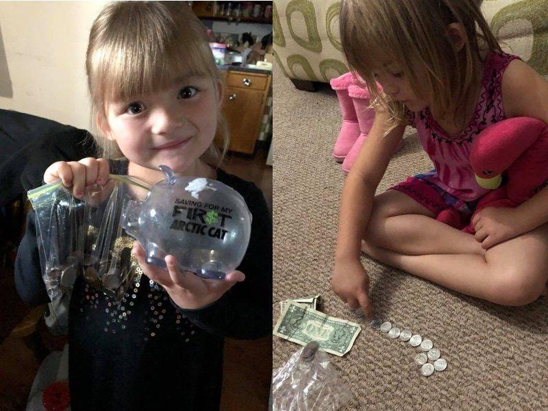 美國一名五歲女童為了自己的好友,決定拿出存款幫忙付牛奶錢,善心舉止也引起其他網友...