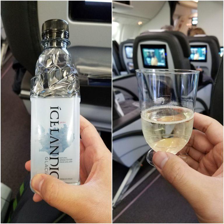 空服員送上冰島的冰河水,與迎賓飲料。圖文來自於:TripPlus