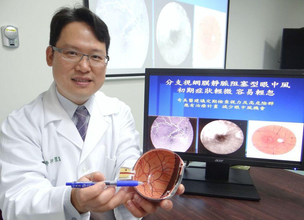 奇美醫學中心眼科部醫師柳景豑提醒如果有單眼突然的視力模糊,要注意可能是分支視網膜...