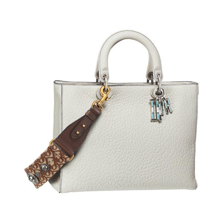 Lady Dior白灰色小羊皮峽谷壓紋大型提包(Oblique棕色背帶另購),售...