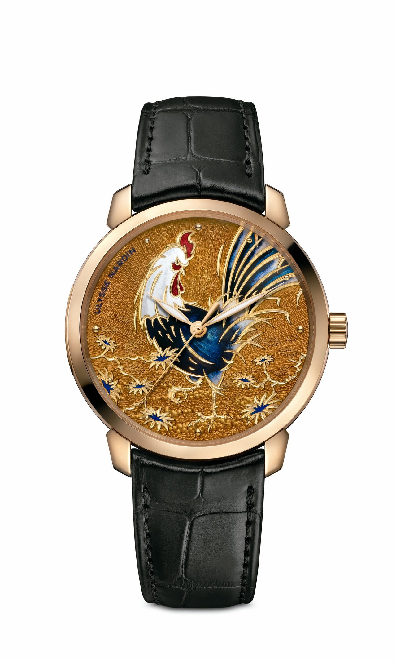 雅典Classico Rooster「金雞」鎏金內填琺瑯腕表,18K玫瑰金表殼,...