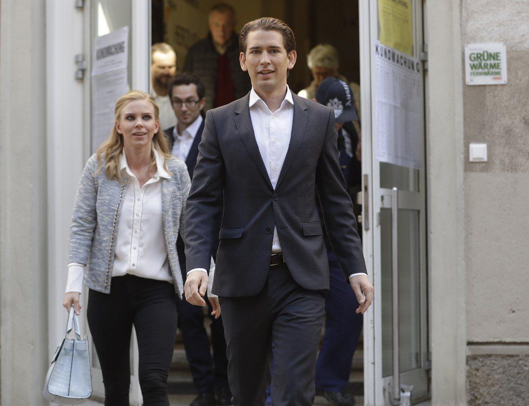 31歲的奧地利準總理庫爾茨和他的女友。 美聯社