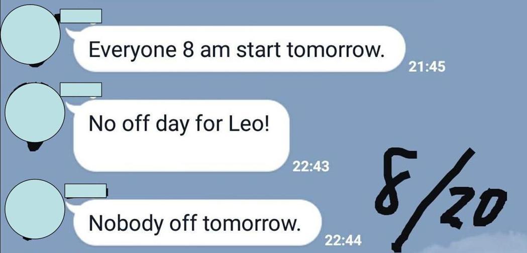 原本答應讓大家排休,前一天晚上卻又要求學生隔天必須全員上工不得休假。圖擷自Dca...