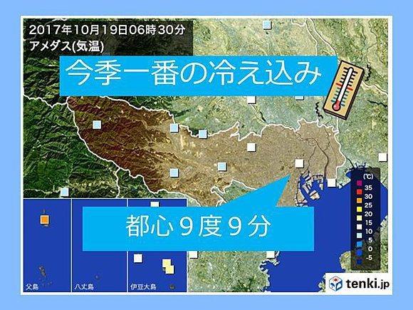 東京最低溫打破31年以來紀錄。 圖/tenki.jp