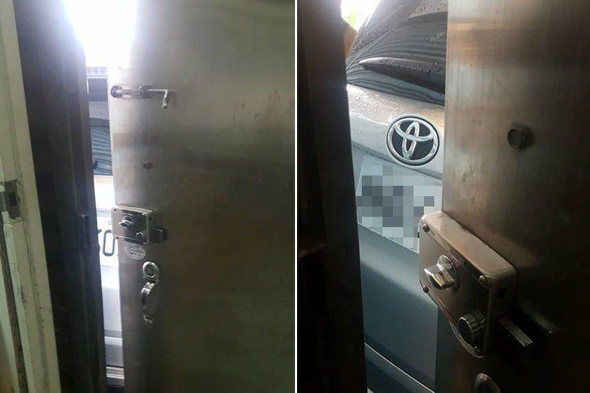 一位網友今天準備出門時,推開家門卻被陌生車子擋住,盡力打開的門縫也無法完整看車牌...