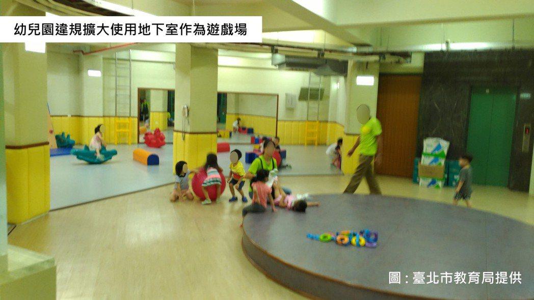 多家幼兒園遭查獲違規使用地下室空間。圖/教育局提供