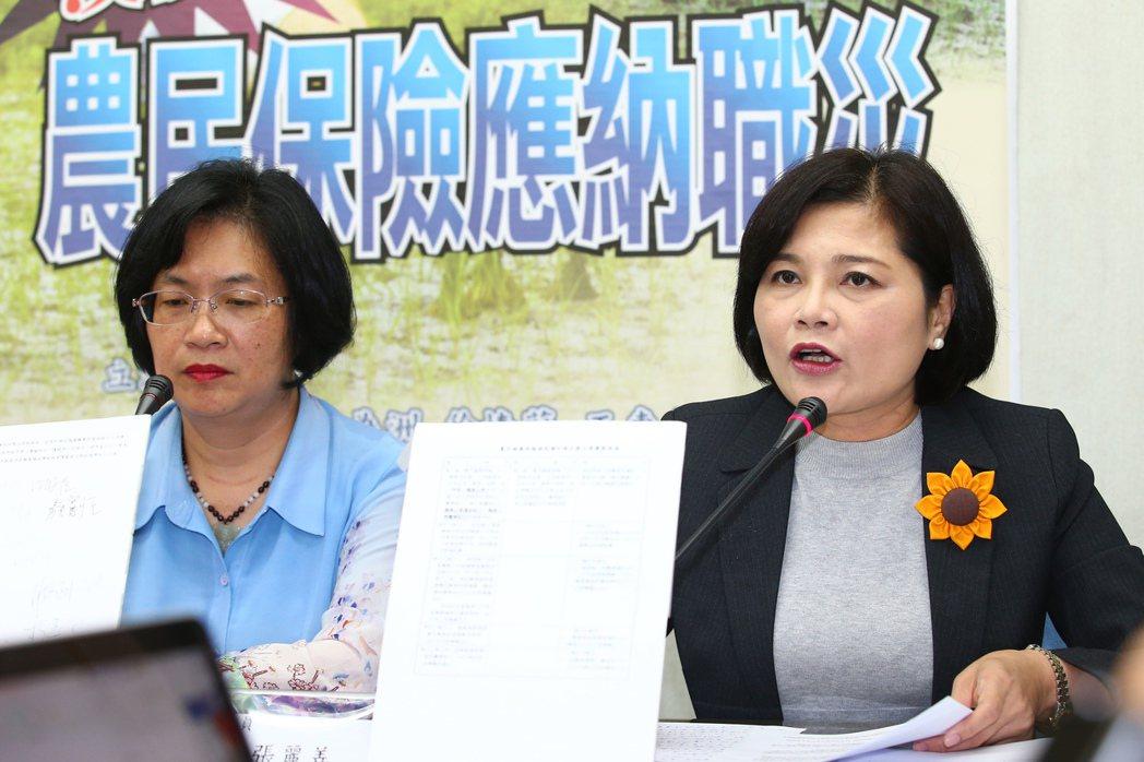 國民黨立委王惠美(左)、張麗善(右)呼籲農民保險應納入職災,讓農民真正有所保障。...