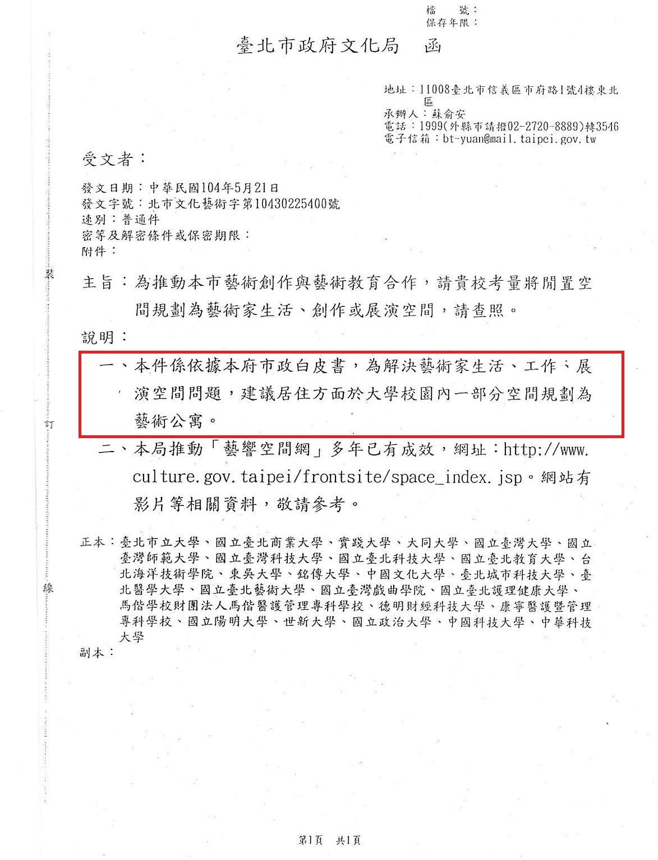 文化局想用一紙公文、兩段文字就要台北市各大學提供空間規劃藝術公寓,結果慘遭各大學...