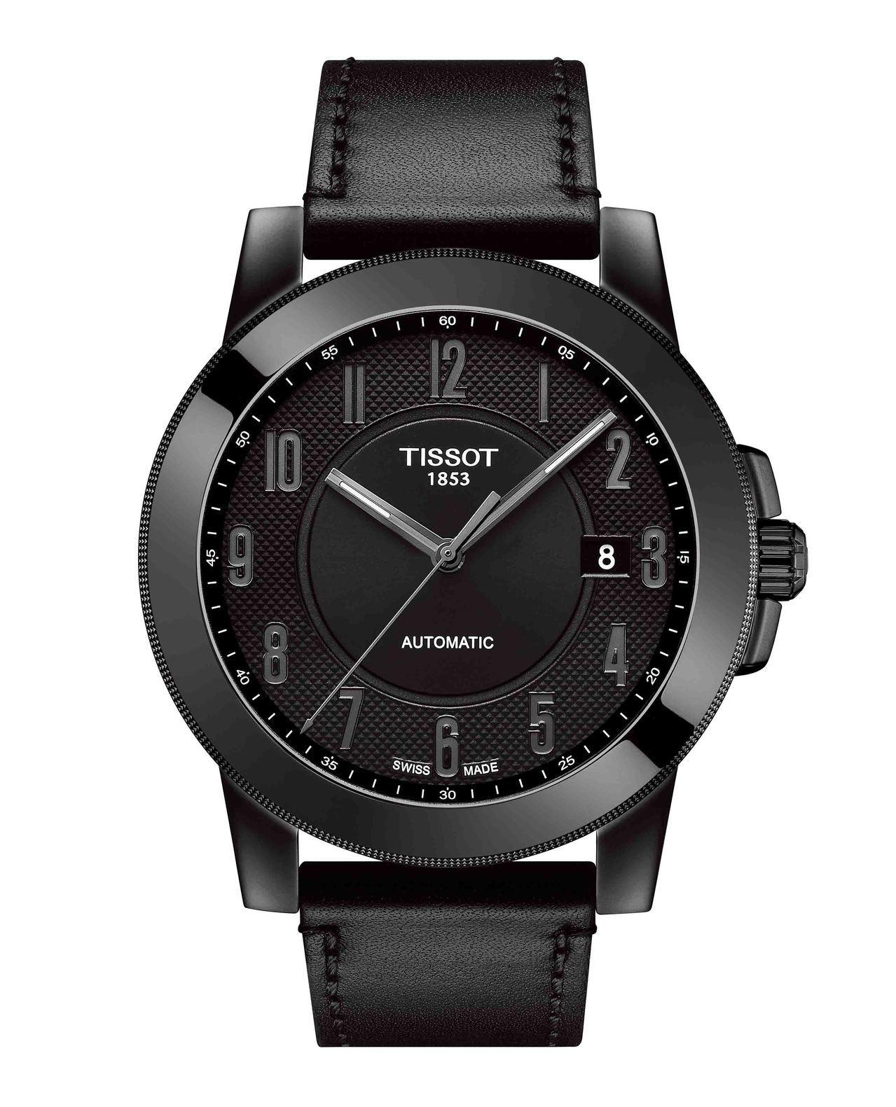 天梭Gentleman紳士系列腕表,搭載Swissmatic自動上鍊機芯,黑色P...