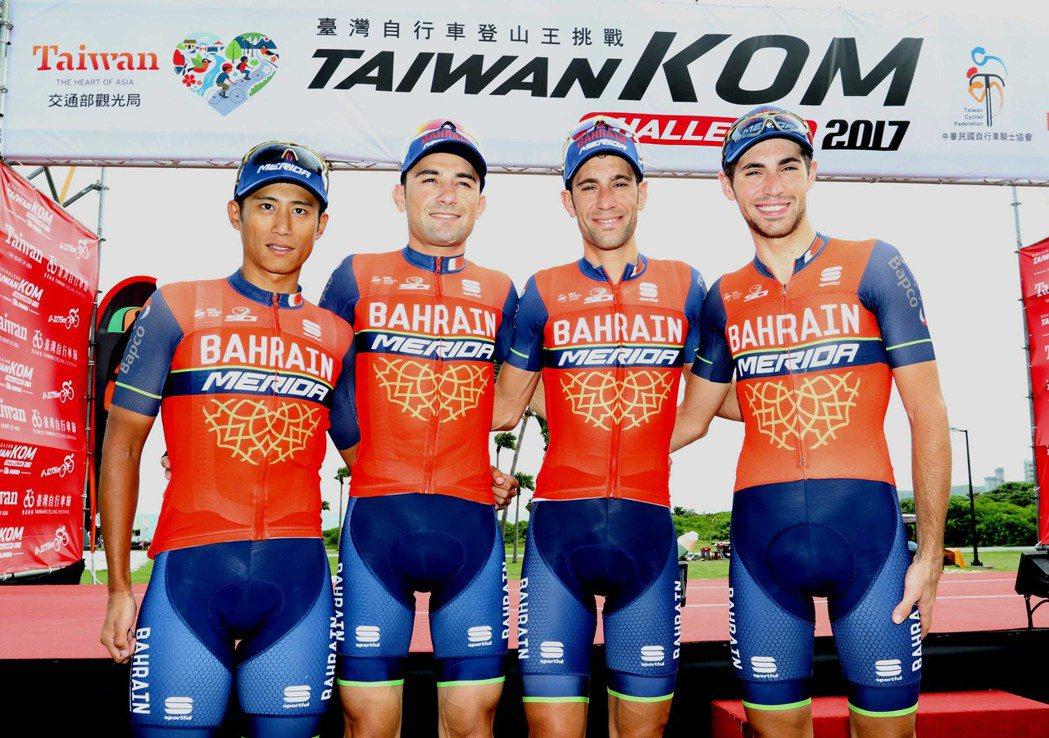 我國一哥馮俊凱(左1)這次將與巴林‧美利達車隊隊友尼巴利兄弟一同參賽。圖/中華民...
