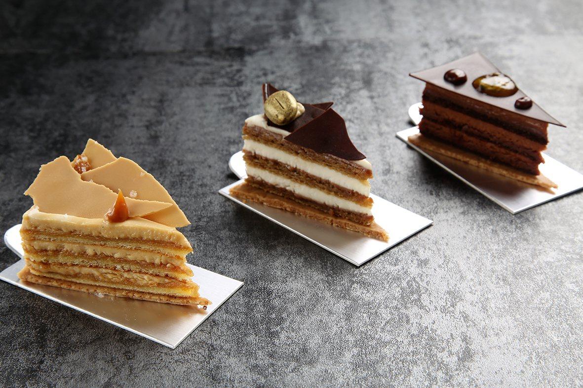 下午茶新甜點「焦糖紳士」、「見過提拉先生」、「巧香小姐」。圖/台北君悅酒店提供