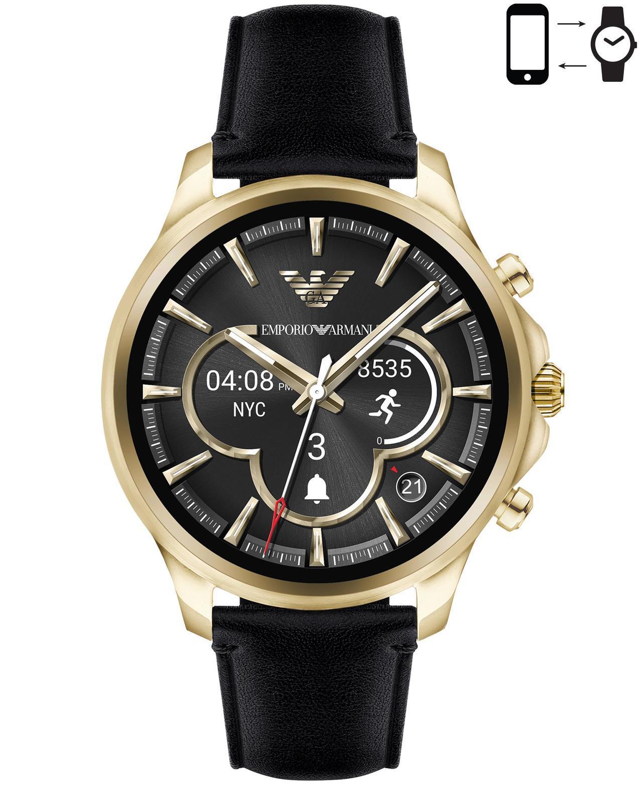 Emporio Armani Alberto系列觸控式螢幕智能、腕表,金色表殼搭...