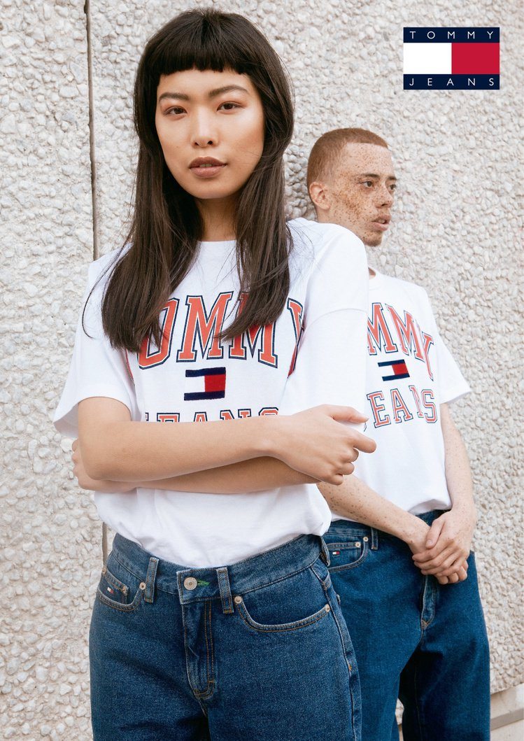 Tommy Jeans男女款經典上衣2,680元、牛仔褲5,980元。圖/Tom...
