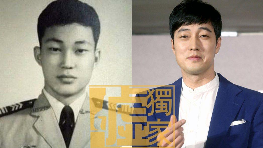 金超群念政戰學校四年級,士官長時的樣子,跟韓星蘇志燮相似度極高。圖/金超群提供、...