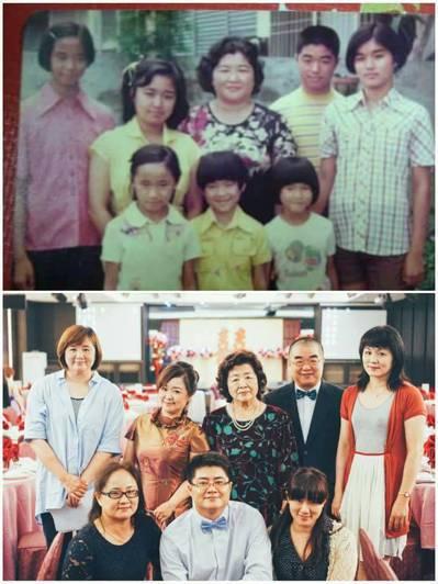 去年4月,他們找出37年前,父親去世後「七小福」依在媽媽身邊拍的全家福照,大家站...
