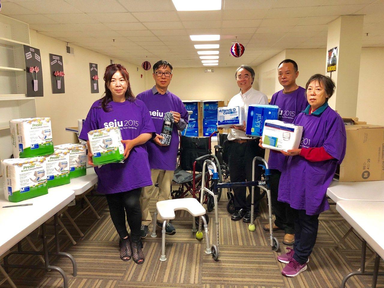 加州長期護理人員工會(SEIU 2015)的華裔家護人員徵集大量成人尿布送往北灣...