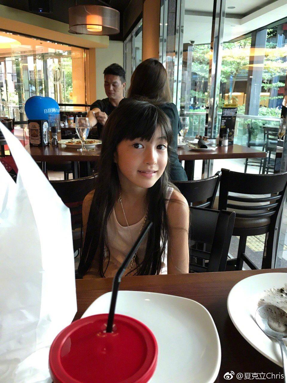 網友誇讚,夏克立女兒夏天越來越像個公主。 圖/擷自微博。
