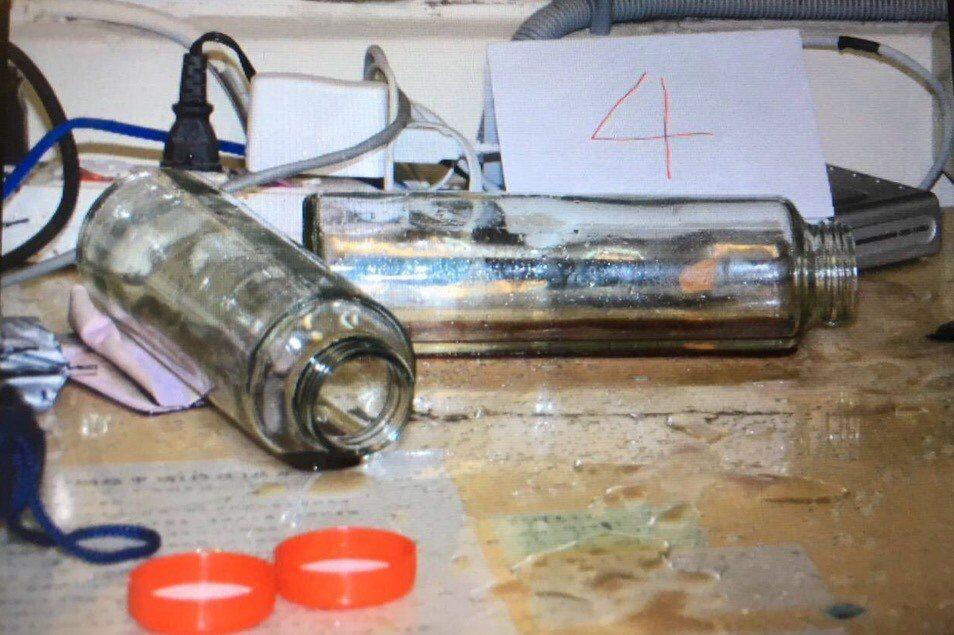 張嫌裝硫酸用的瓶子。記者蕭雅娟/翻攝