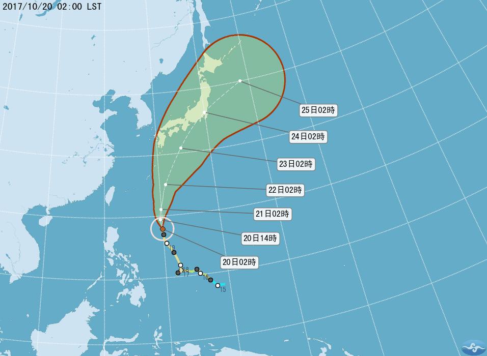 今年第21號颱風蘭恩未來將以偏北的方向朝日本南方海面移動,預計周末期間將來到琉球...