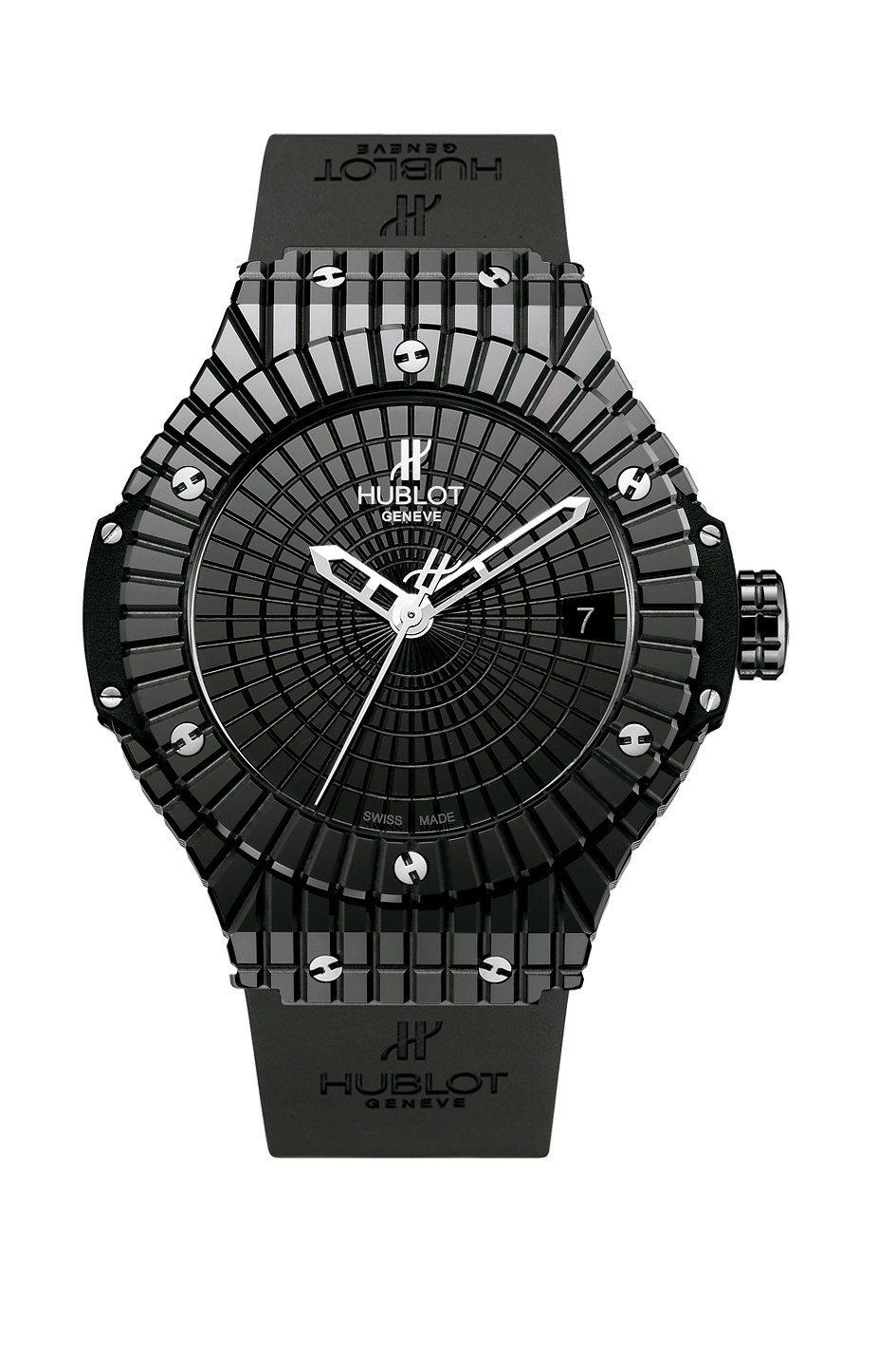 宇舶黑色Big Bang Caviar魚子醬陶瓷腕表,約35萬8,000元。圖/...