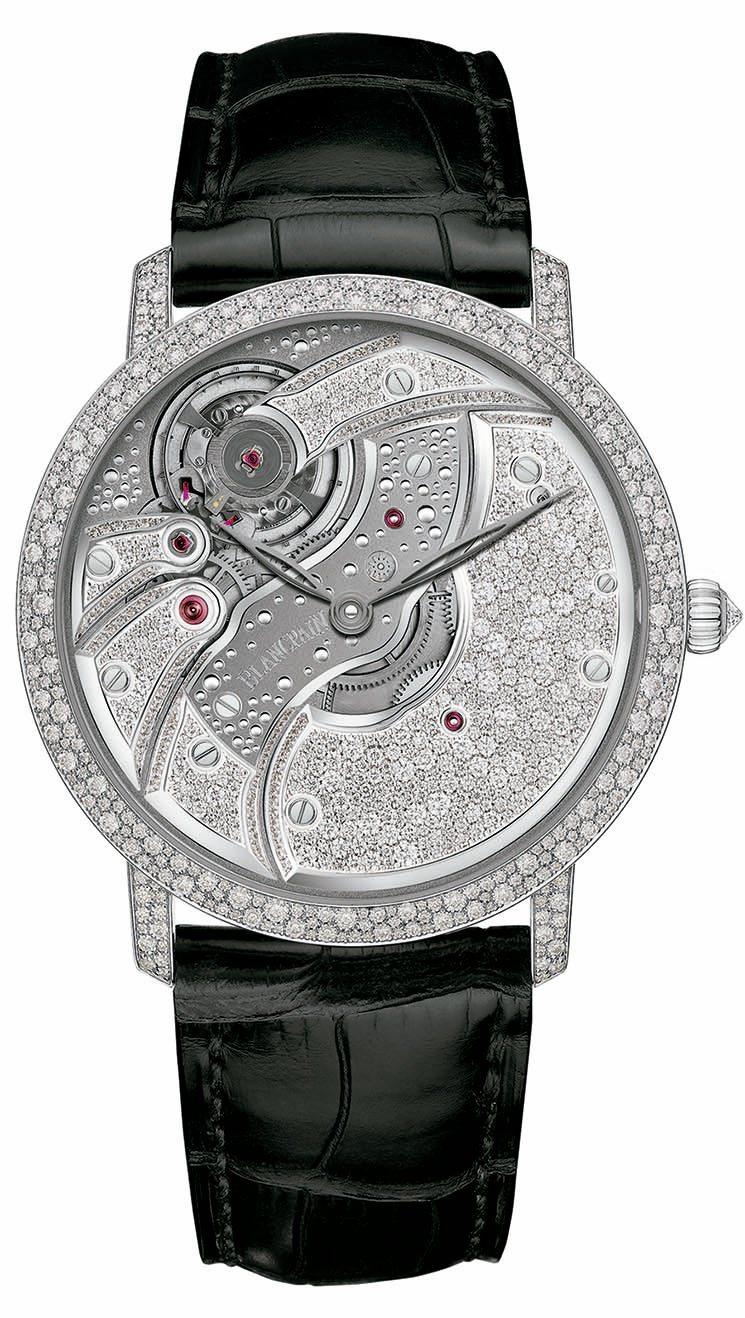 寶鉑巨匠系列Villeret反轉機芯雪花鑽腕表,表圈、表耳和底蓋鑲嵌341顆鑽石...