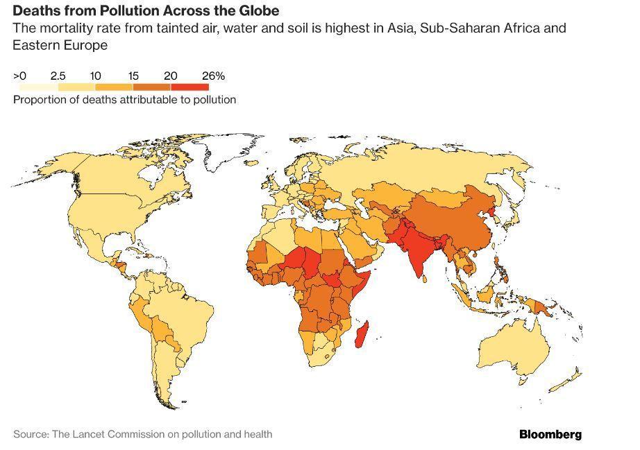 全球汙染致死率分布(彭博資訊)