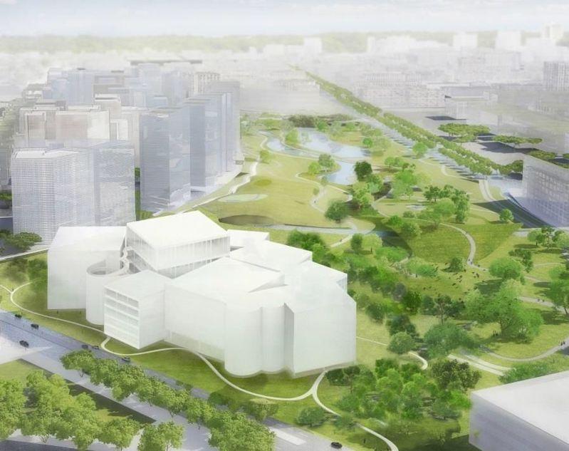 日本建築師妹島和世新作台中綠美圖,位於台中水湳中央公園北側,打造森林中的美術、圖書館。圖/台中市文化局提供