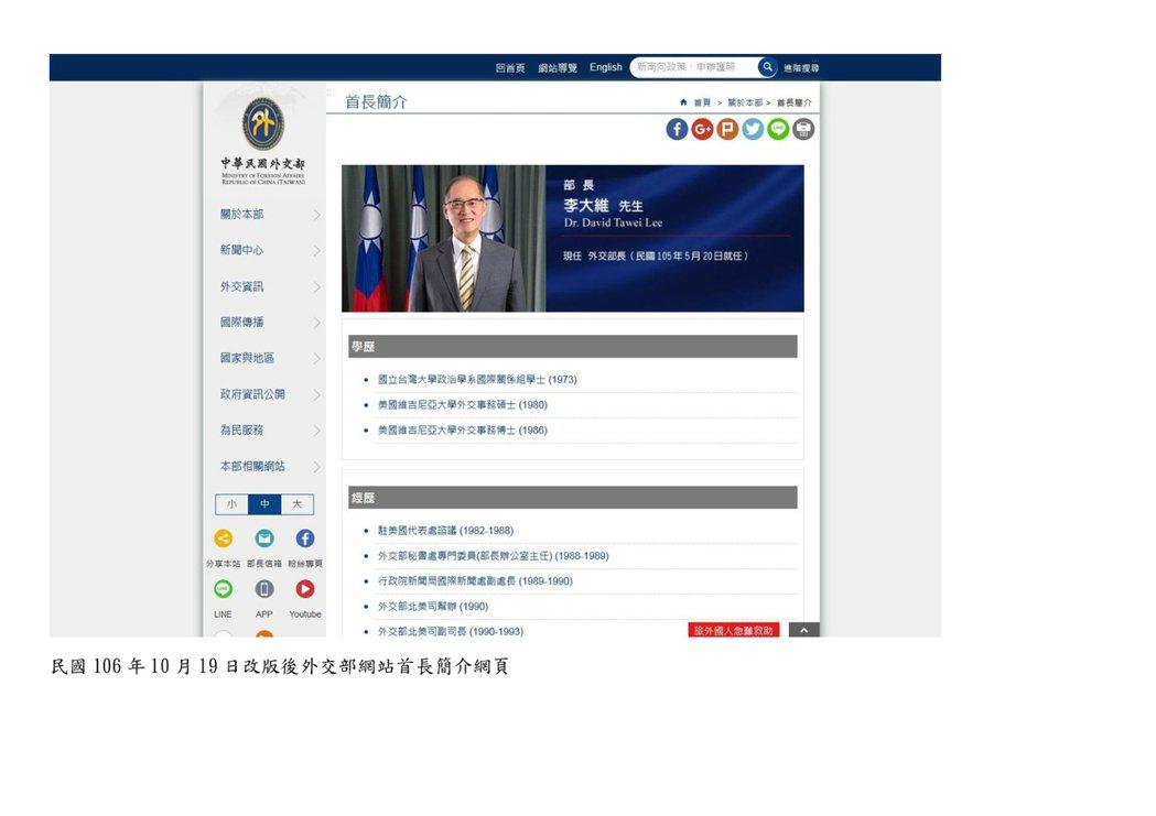 外交部網頁改版後首長介紹,仍有國旗。圖/外交部提供