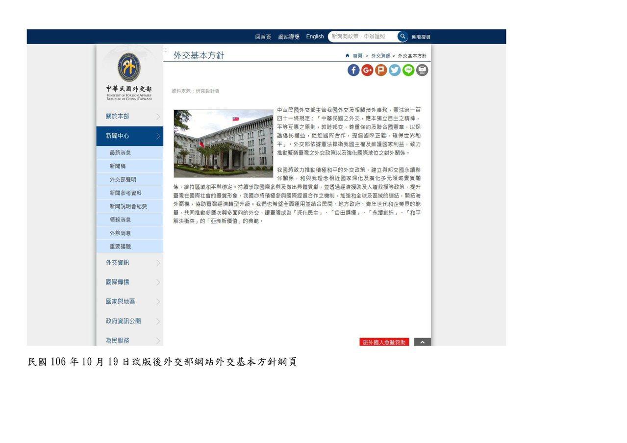 外交部表示,網頁改版後仍有國旗。圖/外交部提供