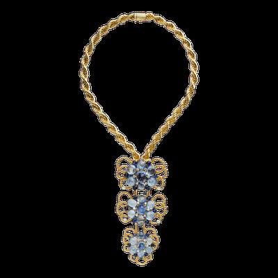 卡地亞骨董珍藏系列編結造型項鍊與可拆卸式墜飾/胸針,黃K金與鉑金鑲嵌藍寶石、鑽石...