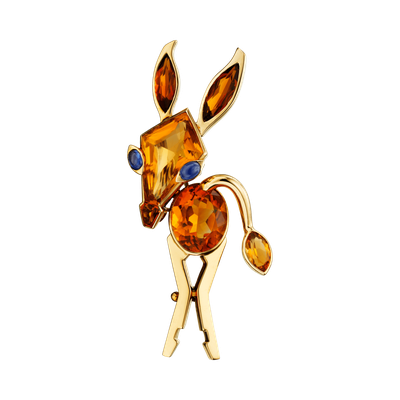 卡地亞骨董珍藏系列驢子造型胸針,黃K金鑲嵌黃水晶、藍寶石,卡地亞倫敦1967年懷...