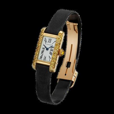 卡地亞骨董珍藏系列 Tank Allongée 腕錶小型款,黃K金鑲嵌黃鑽,卡...