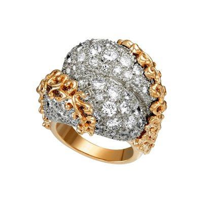 卡地亞骨董珍藏系列雙球葉片裝飾戒指,鉑金與黃K金鑲嵌鑽石,卡地亞紐約1967年懷...