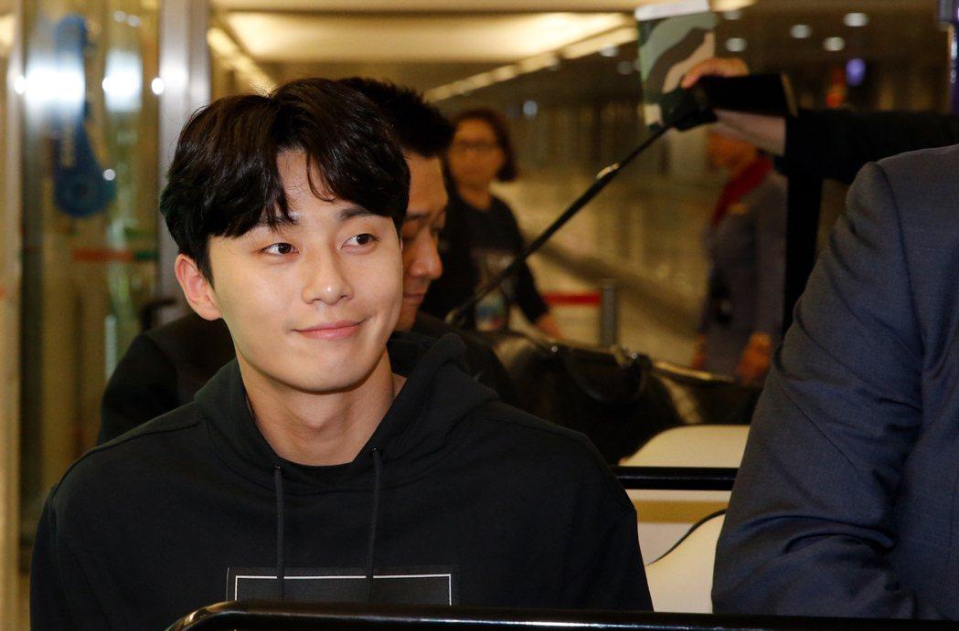 韓星朴敘俊傍晚首度訪台。記者鄭超文/攝影